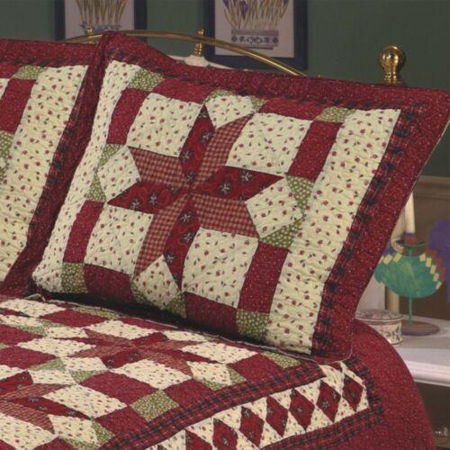 Scarlet Patchwork California King Bed Quilt Floral Star Wedding Ring