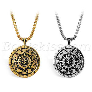 Men-039-s-Vintage-Stainless-Steel-12-Constellation-Zodiac-Compass-Pendant-Necklace