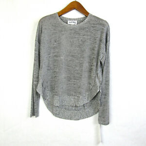 Joseph-Ribkoff-Womens-size-8-Gray-Long-Sleeve-Hi-Lo-Rounded-Hem-Top-NEW