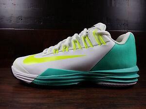 Nike Lunar Ballistec (White / Volt / HyperTurq) Tennis [631648-173] Wmns Sz 6-10