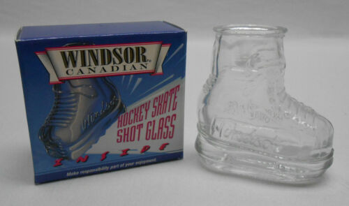 Vintage Windsor Canadian Ice Hockey Skate Shot Glass Clear New in Box