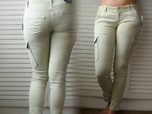 MUJER-NUEVA-Caqui-para-mujer-gris-oscuro-claro-Pantalones-Cargo-Ajustado-Fino