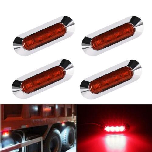 4 x 4 LED Red Clearence Truck Trailer Side Marker Indicators Light Lamp 12V-24V
