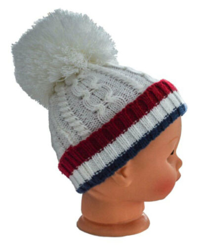 Baby Boys Plain Ribbed Cable Knit Hat With Pom Pom /& Striped Coloured Turnover