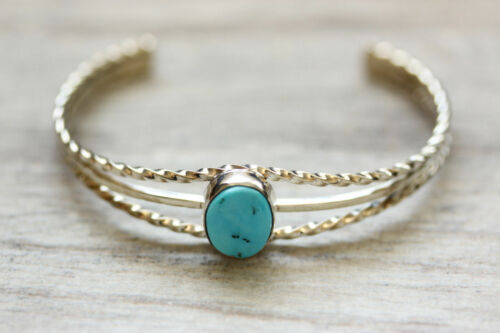 Native American .925 Sterling Silver Turquoise Cuff Bracelet