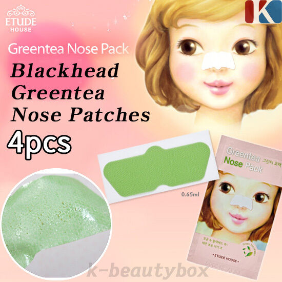ETUDE HOUSE Blackhead Greentea Nose Patches 4PCS Pores Blackhead Korea Cosmetic