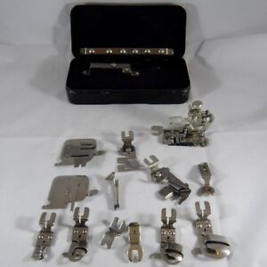 Vintage-Rotary-Sewing-Machine-ATTACHMENTS-kit-Tin-case-GREIST-Accessories-Parts