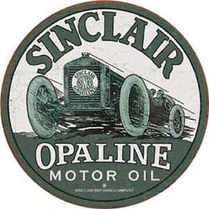 Image is loading Sinclair-Opaline-Motor-Oil-Round-Tin-Metal-Sign-