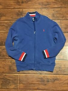 Vintage-Polo-Ralph-Lauren-Full-Zip-sweatshirt-size-large-red-white-and-blue