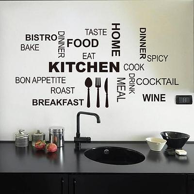 Art Kitchen Food Letter Removable Vinyl Wall Stickers Mural Decal Home Decor