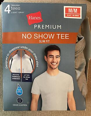 Men 4pk Premium No Show Slim Fit FreshIQ Crew or V~Neck T~Shirt Hanes Gray S,M,L