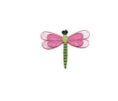 Embroidered Iron On Applique Patch Insect Dragonfly Garden Pink /& Green
