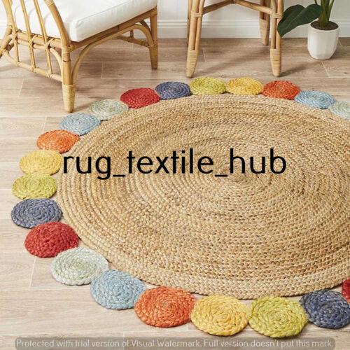 Handmade Beige Indian Jute Braided Natural Round Door Mat Floor Rug Area Rug Rag
