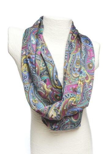 Ladycrow Luxurious Liberty Silk Satin Scarf Purple Paisley Design