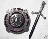 Celtic Sword & Shield - Antique Silver & Red Finish - Geocoin Unactivate