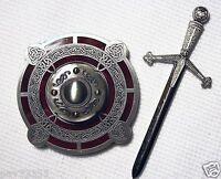 Celtic Sword & Shield - Antique Silver & Red Finish - Geocoin Unactivate