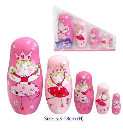 NEW WOODEN Pink Russian Babushka Fairy Nesting Dolls 5 pce