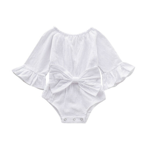 Infant Baby Girl Princess Bow Solid Flare Long Sleeve Romper Top Jumpsuit Outfit