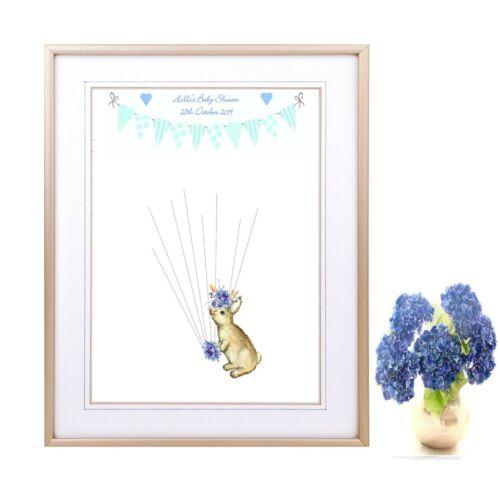 Pink Rabbit Personalised Baby Shower Fingerprint Guest Book Blue Print