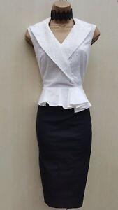 vestito ricamato Millen Occasione Peplo Camicia a di 10 Uk Taglia lavoro matita Karen q4X1fw40