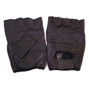 Workout Fingerless Gloves Leather Biker Cycling lifting working Perforated