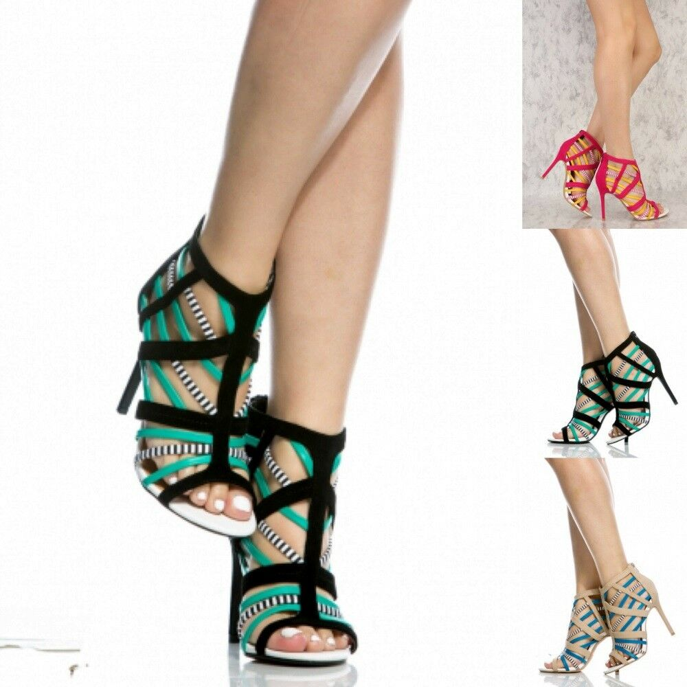 Caged colorful Open Toe High Heels Booties Summer Fashion shoes Sandal US 5.5-10