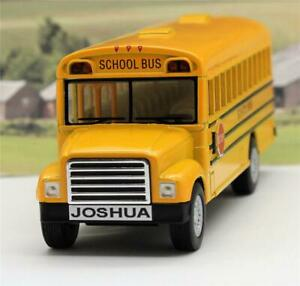 PERSONALISED-PLATE-Gift-US-American-Yellow-School-Bus-Boys-Girls-Toy-Model-Car