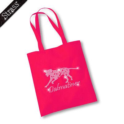Jutebeutel Beutel Tasche Handtasche Shopper Strass Hund Dalmatiner