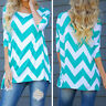 New Women Striped Crew Neck Long Sleeve T Shirt Casual Loose Tops Blouse Shirt