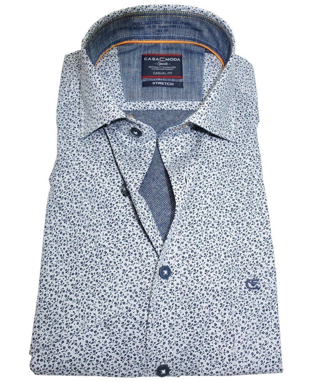 Casa Moda Sports Edition Stretch Kurzarmhemd hellgrey Floraldessin blue M - 7XL