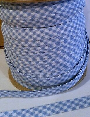 """BLUE & White Gingham Bias Tape 1/2"""" Double Fold  EXTRA Wide 10yd"""