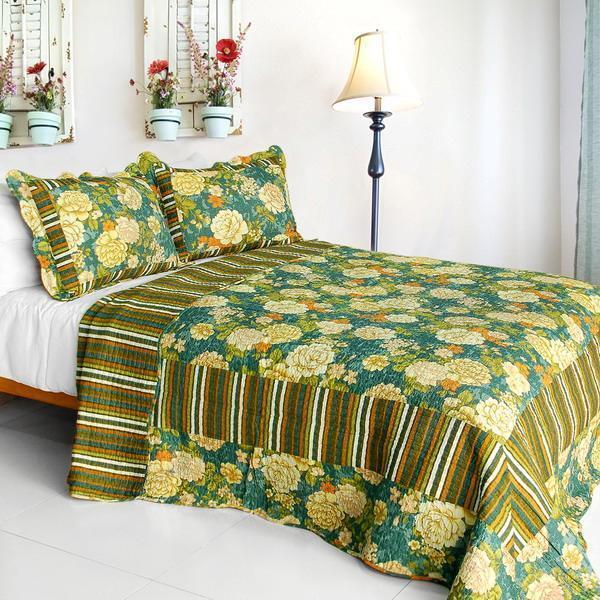 3 PC Vintga Style flowers peony country Grün Blau 100% Cotton Queen Quilt Shams
