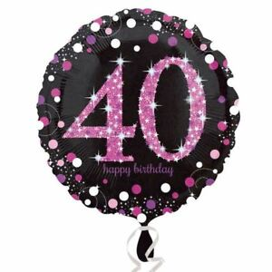 Image Is Loading Pink Celebration 40th Birthday Balloon Sparkle Black