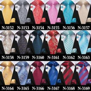 300-Colors-Blue-Burgundy-Red-Black-Grey-Brown-Green-Mens-Silk-Tie-Necktie-Set