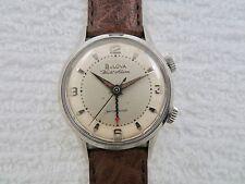 Vintage 1965 BULOVA Wrist Alarm Manual Wind Wristwatch- Serviced- Free Shipping