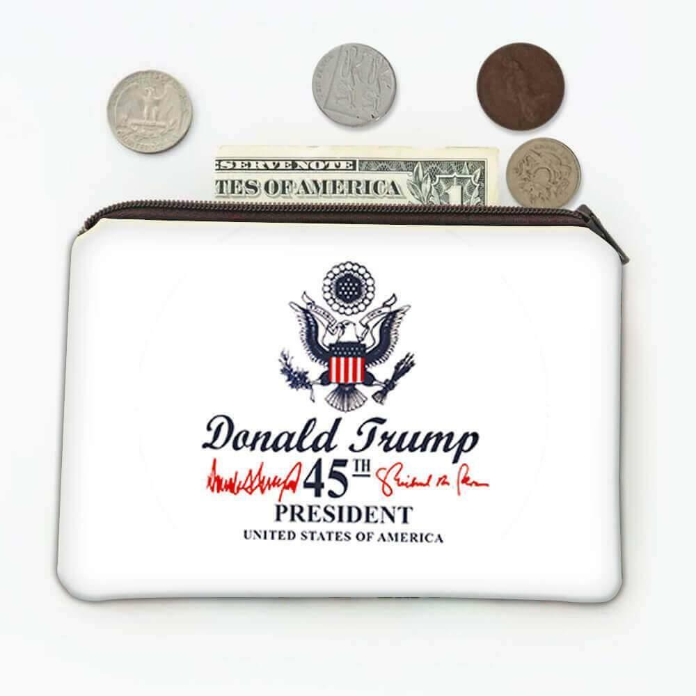 Gift Coin Purse : Donald Trump 45th President USA Crest Flag Eagle Presidential