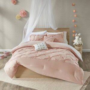 Luxury 7pc Blush Pink Ivory /& Grey Tufted Dots Comforter  AND Decorative Pillows