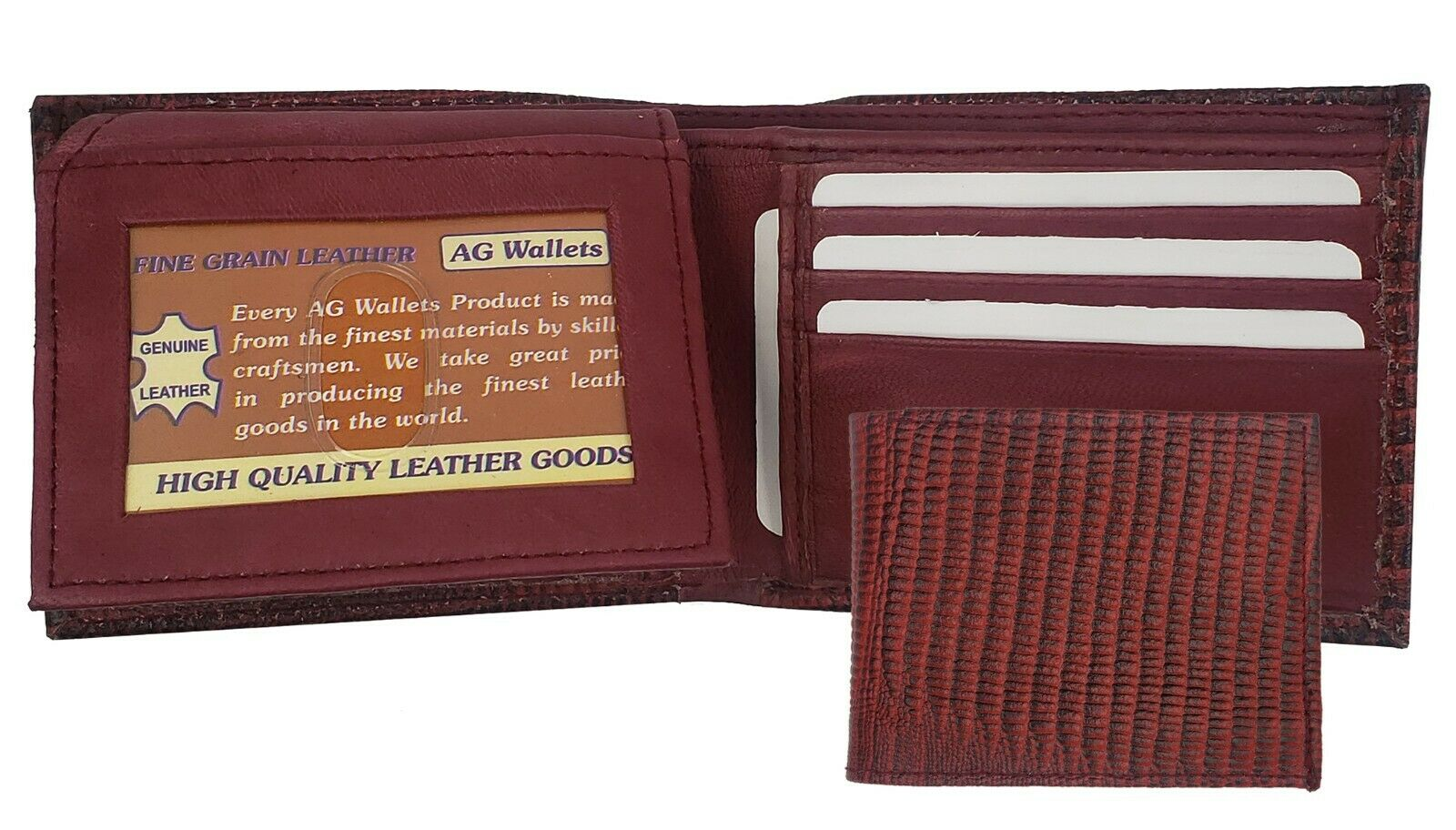 Mens Leather Snake Skin Imprint Lizard Cowboy Bifold Wallet Red