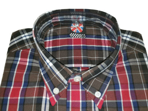 Warrior UK England Button Down Shirt BUSTER Slim-Fit Skinhead Mod Retro