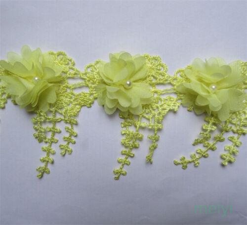 5pcs Vintage Fringe Chiffon Pearl Lace Edge Trim Tassel Ribbon DIY Sewing Craft