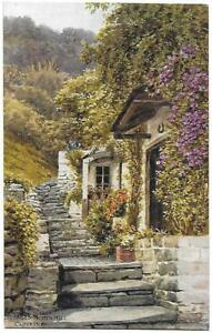COTTAGES-NORTH-HILL-CLOVELLY-Artist-A-R-Quinton-J-Salmon-Card-2949