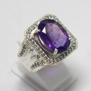 Amethyst Ring Natural Purple Amethyst Ring Silver Women Designer Ring Oval Cut Amethyst Women Ring Statement Ring Sterling Silver Ring