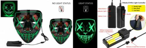 Poptrend Halloween Mask LED Light up for Festival Cosplay Halloween...
