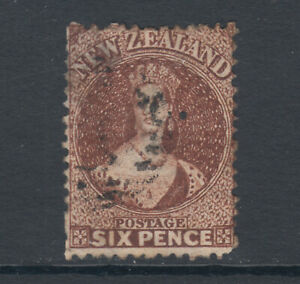 New-Zealand-Sc-36-SG-122-used-1864-71-6p-dull-red-brown-QV-small-thin-Cert