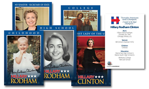 HILLARY CLINTON 2016 Presidential LIFE /& TIMES Trading 5-Card Set Lot of 3