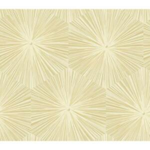 Wallpaper-Designer-Modern-Pearlized-Gold-and-Cream-Abstract-Starburst