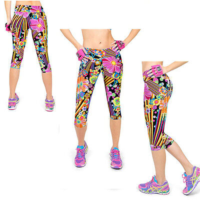 Women Floral Print Legging Casual Tight Workout Pant Exercise Gym Capir L/XL B58