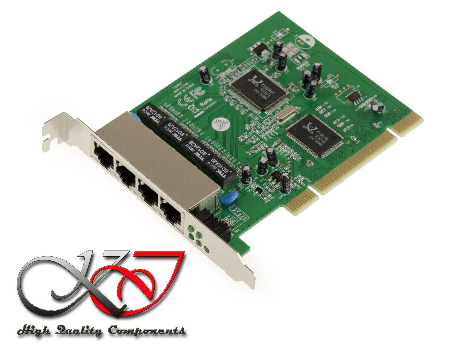 Card Switch PCI Lan 10 100 Network Ethernet 4 Ports - Realtek RTL8111C