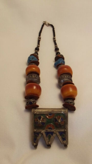 Retro/Vintage Berber Ethnic Tribal Enamel and Bead Necklace