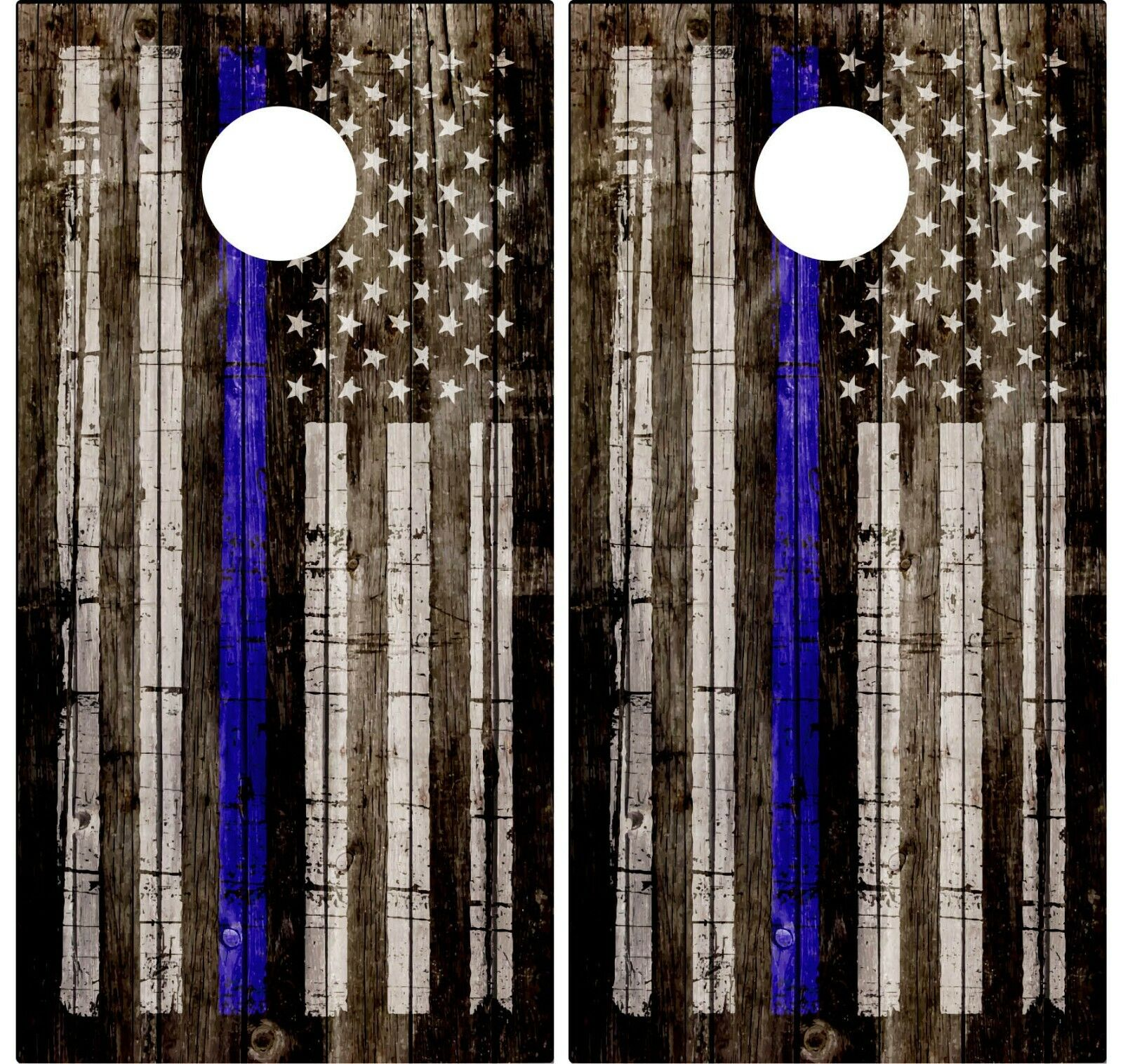 Pair of Thin bluee Line Flag Wood Cornhole  Board Vinyl Decal Wrap police support  leisure